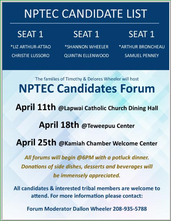 NPTEC Candidate Forum (Orofino)Nez Perce Tribe