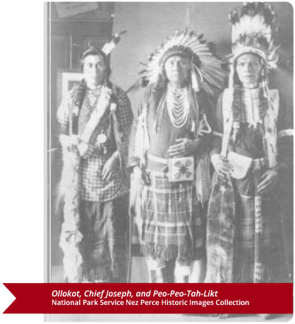 Ollokot, Chief Joseph, and Peo-Peo-Tah-Likt. National Park Service (NPS) Nez Perce Historic Images Collection